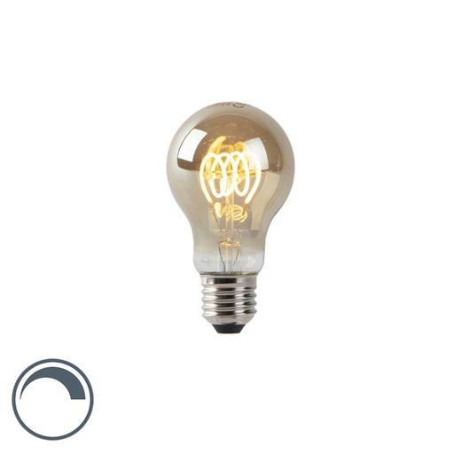 LED lamp A60 E27 4W 2200K smoke spiraal filament dimbaar