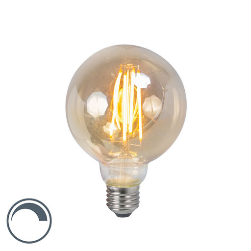 LUEDD LED filament lamp E27 5W 2200K G95 smoke dimbaar