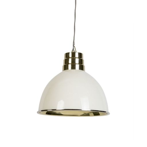 Art deco hanglamp beige met messing Bombay