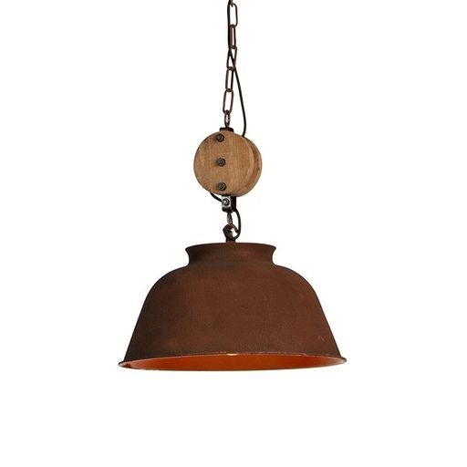 QAZQA Industriele ronde hanglamp roest 42cm - Bax