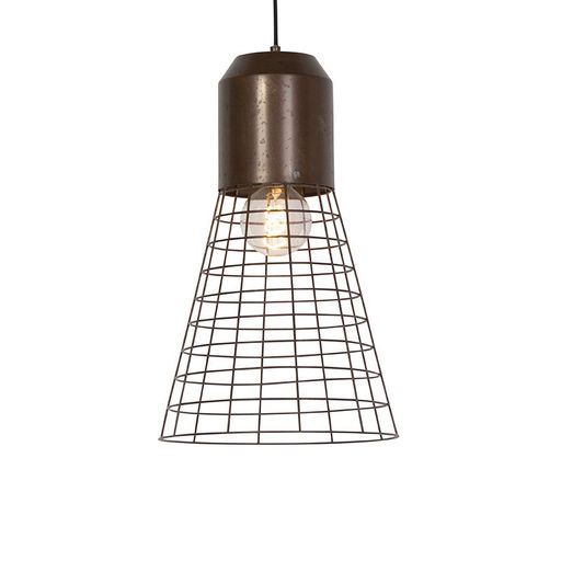 QAZQA Industriele hanglamp roest 31cm - Fausa