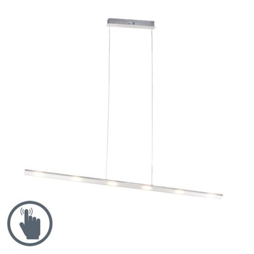 Design hanglamp staal touch dimmer 120cm incl. LED Platina