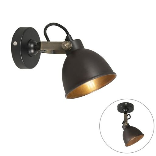 Industriele wandlamp messing Liko