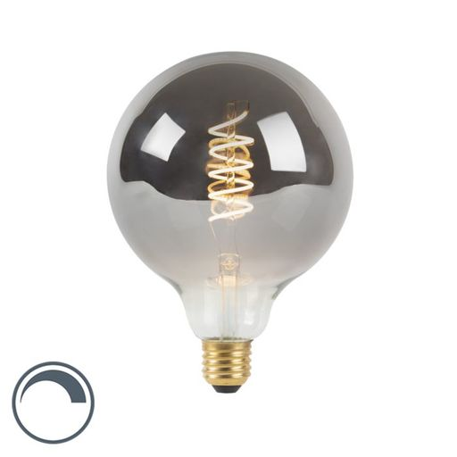 LED lamp G125 E27 4W 2100K 160LM smoke spiraal filament dimbaar