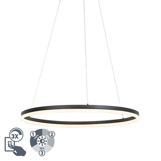 QAZQA Design ring hanglamp zwart 80cm incl. LED en dimmer - Anello