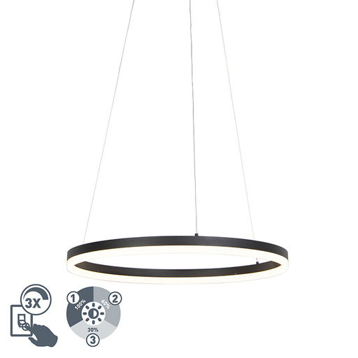 QAZQA Design ring hanglamp zwart 60cm incl. LED en dimmer - Anello