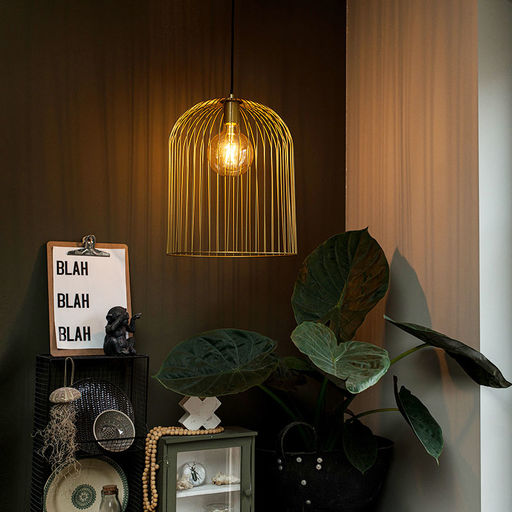 QAZQA Design hanglamp goud - Wire Knock