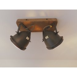 Foto van Chericoni Bella Burned Steel & Vintage Wood 2 lights