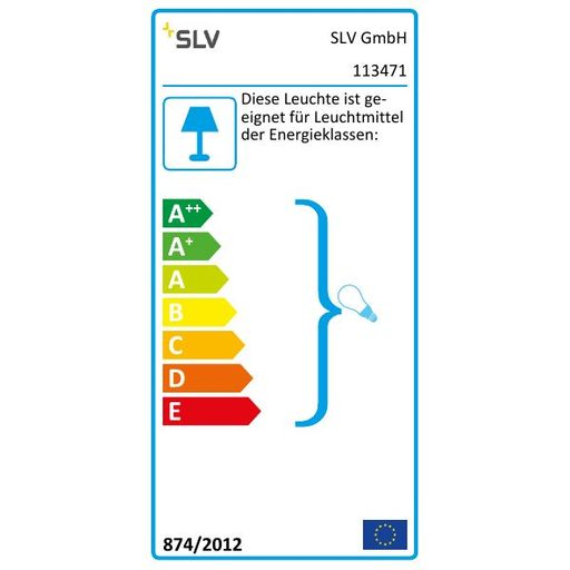 Energielabel van SLV New tria 68 GU10 square wit 1xGU10 wand- of plafondlamp