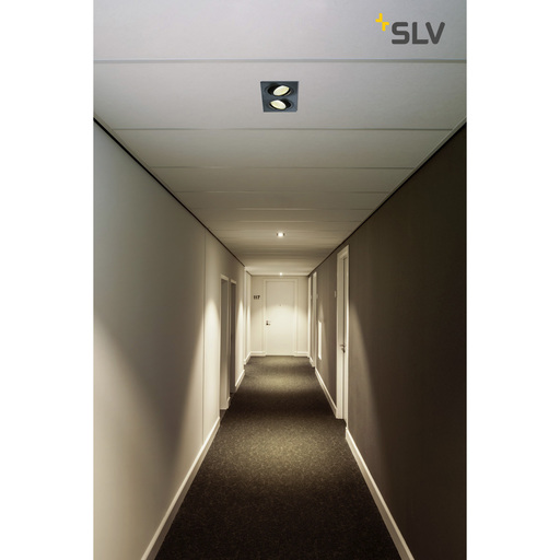 Foto van SLV New tria 2 dl square set zwart mat 2xLED 2700k wand- of plafondlamp