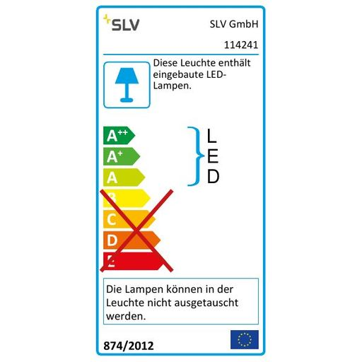 Energielabel van SLV New tria LED dl square set, wit 1xLED 2700k 12w wand- of plafondlamp