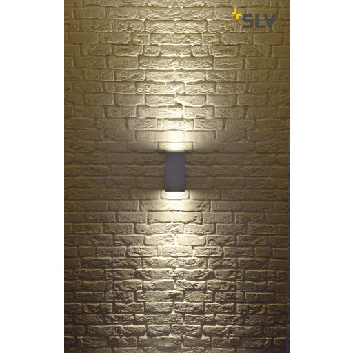 Foto van SLV Big theo wall up-down out zilvergrijs 2xGU10 wandlamp