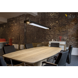 Foto van SLV Aixlight r2 office LED long zwart LED, 2xes111 hanglamp